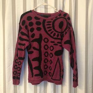 Super dope vintage magenta & black sweater